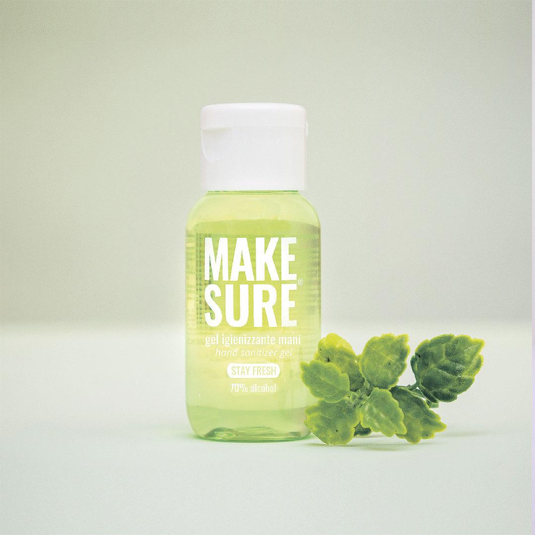 gel igienizzante mani 50ml colorato e profumato menta e lime stay fresh make-sure