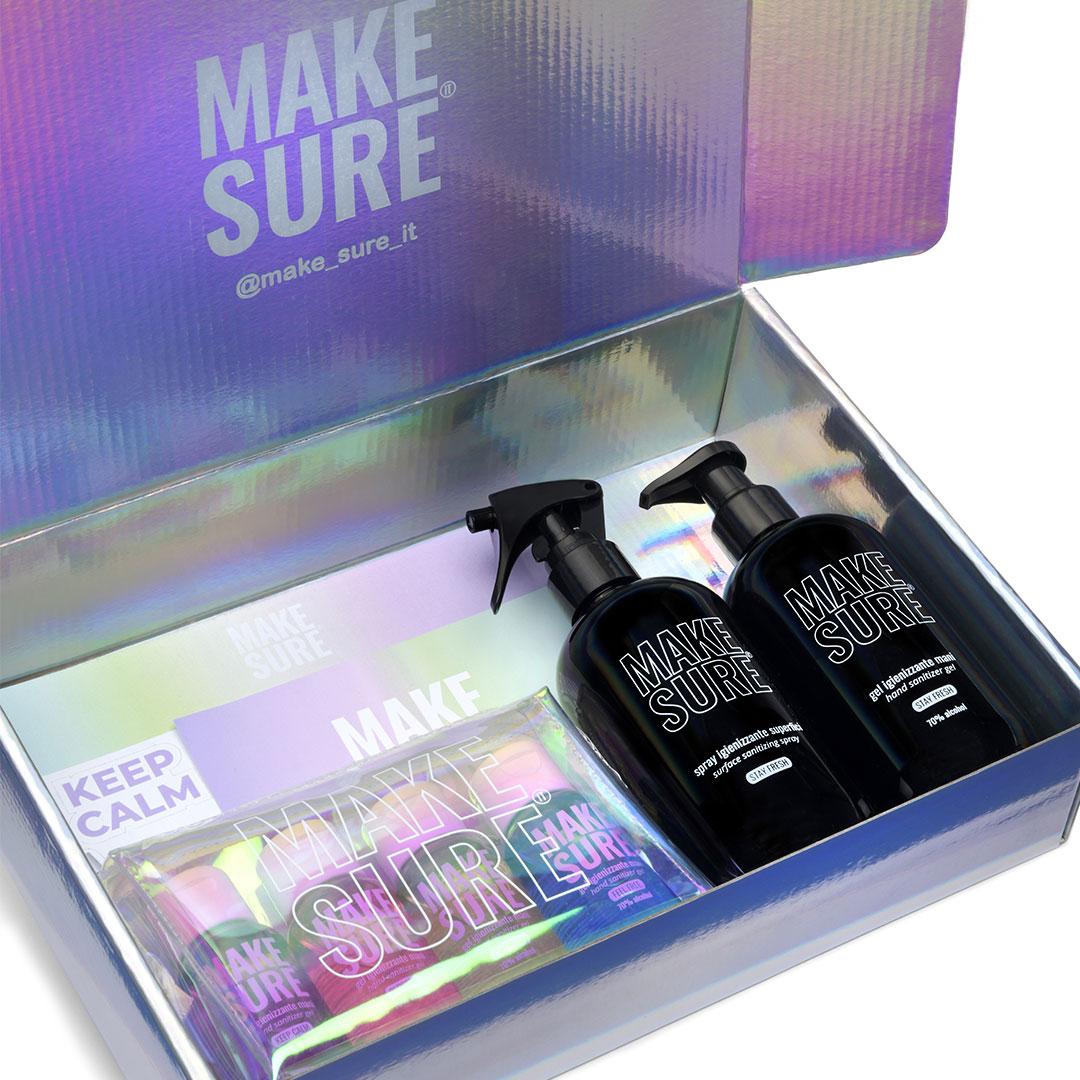 magic box gel igienizzante mani spray igienizzante superfici kit rainbow make-sure