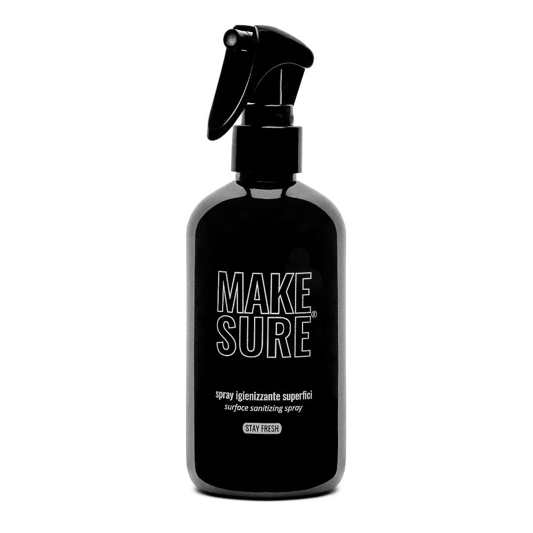 spray igienizzante superfici 300 ml black edition e profumato menta e lime stay fresh make-sure