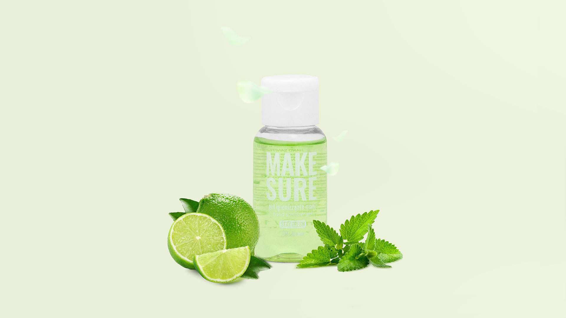 gel igienizzante mani 50ml colorato e profumato menta e lime stay fresh make-sure